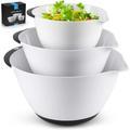 TREASURECABINET 3-Piece Mixing Bowl Set - Plastic Mixing Bowls w/ Handles & Non Slip Bottom - Nesting Mixing Bowls w/ Pour Spout For Baking, Serving