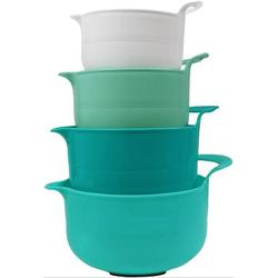 TREASURECABINET Nesting Mixing Bowls Set Of 4, Assorted Size Mixing Bowls For Kitchen, Mixing Bowls w/ Pour Spout, Mixing Bowl w/ Handle in Blue