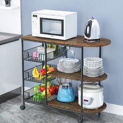 17 Stories 3-Tier Kitchen Island Cart Trolley Industrial Microwave Oven Stand Utility Storage Cart w/ 3 Metal Baskets Wood/Metal in Brown | Wayfair