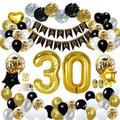 YANSION 30Th Birthday Decoration Black Gold, Birthday Party Deco w/ Happy Birthday Banner Confetti Hot Air Balloons Heart Foil Balloons For Girls Bo