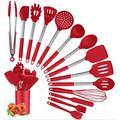 Prep & Savour Silicone Cooking Utensil Set, Kitchen Utensils 15Pcs Cooking Utensils Set, Size 14.0 H x 5.0 W x 4.0 D in | Wayfair