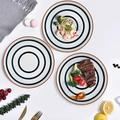 Latitude Run® Ceramic Salad Plates - Color Painted Porcelain Lunch Plates - Dining Party Restaurant Round Serving Dish For Steak, Salad, Pizza
