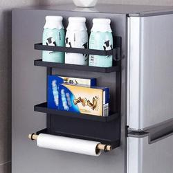 Prep & Savour Fridge Magnetic Shelf, Paper Towel Holder Fridge Spice Rack Kitchen Refrigerator Organizer Rack w/ 2 Removable Hooks () in Black