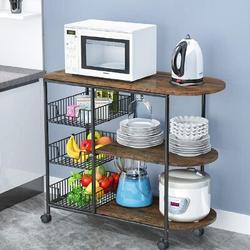 17 Stories 3-Tier Kitchen Island Cart Trolley Industrial Microwave Oven Stand Utility Storage Cart w/ 3 Metal Baskets Wood/Metal in Brown   Wayfair