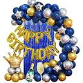 Yansion 46 Piece Birthday Party Decoration Kit Blue/Silver/Gold Balloons For Men Women Boys Friends, Birthday Balloon Blue Kit Happy Birthday Bann