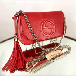 Gucci Bags   Gucci Soho Leather Flap Shoulder Bag.   Color: Red   Size: Os