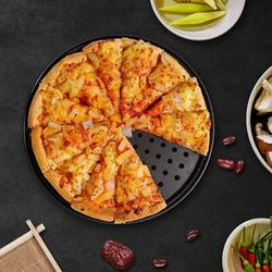 Battle Cow Pizza Pan w/ Holes For Oven 12 Inch Non-Stick Carbon Steel Perforated Pizza Crisper Pan, Round Pizza Bakeware For Home Kitchen Oven Steel