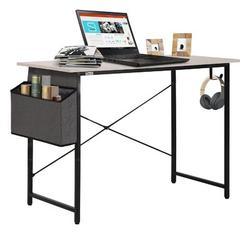 Inbox Zero Home Office Computer Writing Desk Wood/Metal in Gray/White, Size 29.53 H x 39.37 W x 19.69 D in | Wayfair