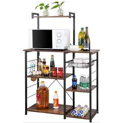 17 Stories Microwave Stand w/ Cabinet Hutch For Kitchen w/ Storage Kitchen Backer Rack & Shelves For Storage Kitchen Storage Organizer in Brown