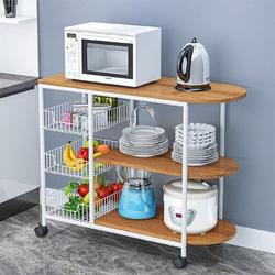 Prep & Savour 3-Tier Kitchen Island Cart Trolley Industrial Microwave Oven Stand Utility Storage Cart w/ 3 Metal Baskets Wood/Metal in White Wayfair