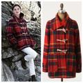 Anthropologie Jackets & Coats | Anthropologie Daughters Of Liberation Plaid Toggle Blanket Coat Womens Sz 4 | Color: Black/Red | Size: 4