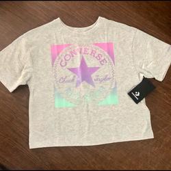 Converse Shirts & Tops   Converse Big Girls Boxy-Fit Logo Graphic T-Shirt   Color: Gray   Size: Lg