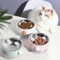 Furrytail Mayitwill Clown Cat Bowl, Stainless Steel Cat Bowl, Wide Cat Dish, Non Slip Cat Feeding Bowl in Pink, Size 7.0 H x 7.0 W x 4.0 D in
