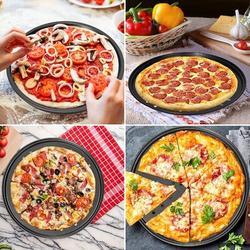 "Lattice Routh 2 Pack Pizza Pan Round Pizza Board + Pizza Cutter + Pizza Slicer 12.5"" Carbon Steel Pizza Baking Pan Non-Stick Cake Pizza Crisper Server Tray Stand Fo"