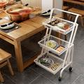 Alexent Metal Utility Cart 3-tier Rolling Cart(black) Metal in White, Size 37.2 H x 17.3 W x 11.8 D in | Wayfair CJ3636-WH