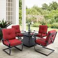 Red Barrel Studio® Delmas 5 Piece Multiple Chairs Seating Group w/ Cushions redWicker/Rattan | Wayfair 474B72AC78C2420E9373AF5CCEDBE2BD