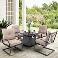 Red Barrel Studio® Delmas 5 Piece Multiple Chairs Seating Group w/ Cushions Wicker/Rattan in Black | Wayfair 7A9203936D504560A69D21ED1DF7C249