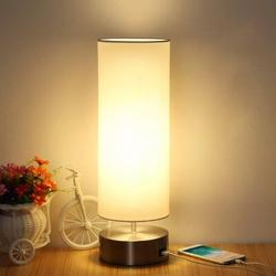 Latitude Run® Touch Control Nightstand Light Fast USB Charging Port Level 3 Brightness Dimable Modern Environmental Light w/ Round Shade For Bedroom