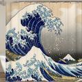 Rideau de bain ou de douche japonais, la grande vague des rideaux Kanagawa avec motif de vague de