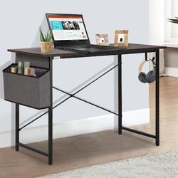 Inbox Zero Home Office Computer Writing Desk Wood/Metal in Brown, Size 29.53 H x 39.37 W x 19.69 D in   Wayfair 2B9C6350B15F446AB988BCE3A155E18B