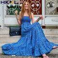 Vintage Bleu Floral Robe D'été Femmes Élégantes Mi-longue Robe Longue Robe Bleu Décontracté Lâche