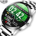 LIGE – montre connectée de luxe pour hommes, bracelet en acier, étanche, écran entièrement tactile,