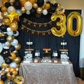 APERIL Happy 30Th Birthday Balloon Set Metallic Balloons Aluminum Foil Balloon Party Decoration Reusable Party Needs in Black/White/Yellow | Wayfair