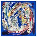 Foulard surdimensionné en soie sergé pour femmes, 2021x130cm, châle carré imprimé plume, grand