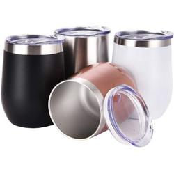 hodog2015 4 Pack 12Oz Stemless Wine Tumbler Wine Glasses Set Of 4 Stainless Steel Cups, Size 4.4 H x 3.5 W in | Wayfair LT6ZZP07PGTKGJG