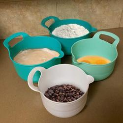 Lattice Routh Nesting Mixing Bowls Set Of 4, Assorted Size Mixing Bowls For Kitchen, Mixing Bowls w/ Pour Spout, Mixing Bowl w/ Handle in Blue