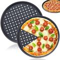 """fedigorlocn Pizza Pans w/ Holes, Round Pizza Baking Tray, 2 Pack Perforated Pizza Crisper Pan w/ Non-Stick Coating, Size 0.87"""" H x 12"""" L x 12"""" W"""