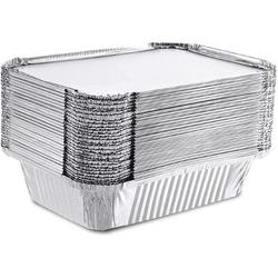 """FAW 50 Pack Aluminum Foil Pans, 7.5""""X5.5""""X2.5"""" Rectangle Grill Tin Foil Pans w/ Cardboard Lids, Disposable Steam Table Pans For Baking, Cooking"""