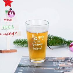 hodog2015 This Guy Is One Awesome Husband Beer Glass, Novelty Husband Beer Pint Glass For Men Husband Boyfriend Lover Friend, Size 5.7 H x 2.4 W in