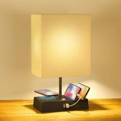 Latitude Run® Table Lamps For Bedroom, Touch Control Bedside Lamp w/ 2 USB Port & 1 Outlet, Wireless Charging Lamp in Black/White | Wayfair