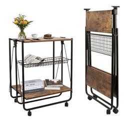 17 Stories Industrial Kitchen Folding Bar Cart Kitchen Serving Island Carts w/ Wheels Farmhouse Rolling Dinning Islands Kitchen Serving Cart w/ Foldable Sto