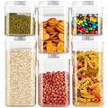 Prep & Savour Airtight Food Storage Containers, Plastic Cereal Containers BPA Free, 6 Pack Food Storage Containers For Flour & Sugar Storage in White