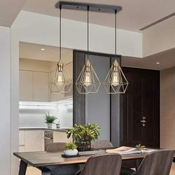 Everly Quinn Shadowbrook 3 - Light Kitchen Island Geometric Metal in Yellow, Size 19.7 H x 9.8 W x 9.8 D in | Wayfair