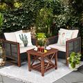 Latitude Run® 3 Pcs Patio Wicker Furniture Sofa Set w/ Wooden Frame & Cushion Wood/Natural Hardwoods/Wicker/Rattan in Brown/White | Wayfair