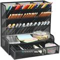 Inbox Zero Mesh Desk Organizer, Multi-Functional Pen Holder, Pen Organizer For Desk, Desktop Stationary Organizer in Black, Size 5.9 D in | Wayfair