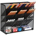Inbox Zero Mesh Desk Organizer, Multi-Functional Pen Holder, Pen Organizer For Desk, Desktop Stationary Organizer in Black, Size 3.9 D in | Wayfair