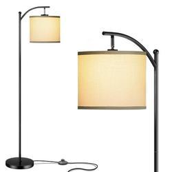 Latitude Run® Living Room Floor Lamp, w/ Lampshade & 9W LED Lamp Modern Standing Lamp Bedroom Floor Lamp Metal in Black   Wayfair
