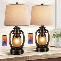 Longshore Tides Farmhouse Bedside Table Lamps For Living Room Set Of 2 Oatmeal Tapered Drum Shade Rustic Bedroom Nightstand Lamps w/ 2 USB Port