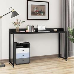 Inbox Zero Overbed Table w/ Wheels,Queen Size Mobile Desk w/ Heavy-Duty Metal Legs, Great For Bedroom, Dining Room, Living Room in Black   Wayfair