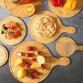 Union Rustic Wooden Round Pizza Tray, Pizza Cutting Plate w/ Handle, Bread Cheese Baking, Kitchen Baking Tools Can Use Bread, Cheese, Vegetables