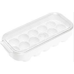 Prep & Savour Egg Holder Stackable Plastic Covered Egg Tray Holder Plastic Refrigerator & Pantry Egg Bin, BPA Free Fridge Organizer w/ Lid in White