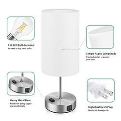 Latitude Run® Set Of 2 Touch Control 3-Way Dimmable Table Lamp w/ 2 USB Ports Modern Nightstand Lamp w/ AC Outlet Bedside Lamps w/ Fabric Shade Desk Lamp For Metal