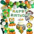 YANSION Jungle Boy Birthday Decorations Kid - Happy Birthday Banner w/ Latex Balloons & Safari Forest Animals Balloon For Boy Birthday Baby Shower