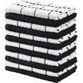 ZZGEN Towels Kitchen Towels, 100% Ring Spun Cotton Super Soft & Absorbent Dish Towels, Tea Towels & Bar Towels, (Pack Of 12) Cotton in Black Wayfair