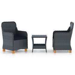vidaXL 3 Piece Garden Lounge Set with Cushions Poly Rattan Dark Gray