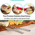FAW Cheese Board & Knife Set, Large Cheese Board Serving Platter, Charcuterie Board, Cheese Board Utensil Set, Size 16.0 W x 9.0 D in   Wayfair